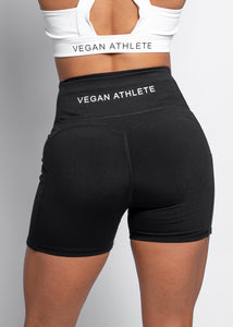 BLACK VEGAN ATHLETE SIDE POCKET SHORTS