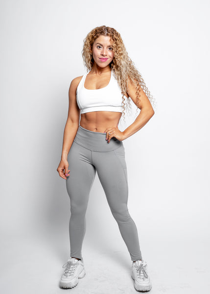 GREY VEGAN BOOTY SIDE POCKET LEGGINGS