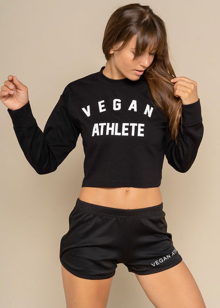 Black Vegan Athlete Crop Long Sleeve