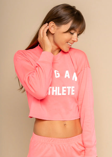 Vegan Athlete Neon Crop Long Sleeve