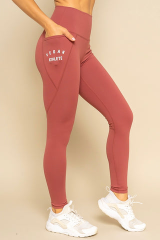 Vegan Athlete Side Pocket Tangerine Solid Highwaist Leggings