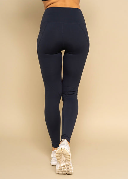 Vegan Athlete Side Pocket DK. Navy Solid Highwaist Leggings