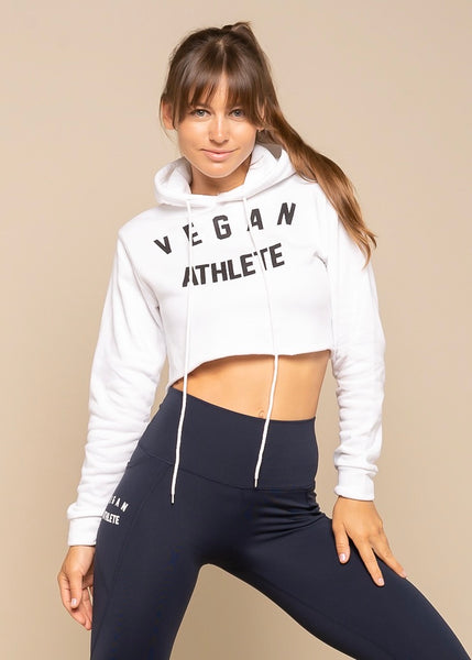 Vegan Athlete White Cropped Hoodie