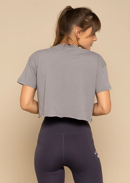 Vegan Power Grey Essential Athleisure Crop Shirt