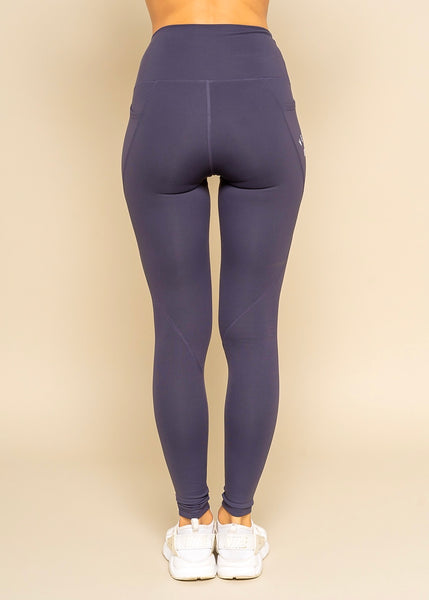 Vegan Athlete Side Pocket Purple Solid Highwaist Leggings