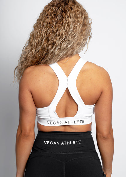 WHITE VEGAN ATHLETE SPORT BRA