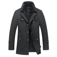 Winter Wool Coat Slim Fit Jackets Mens Casual Warm Outerwear Jacket