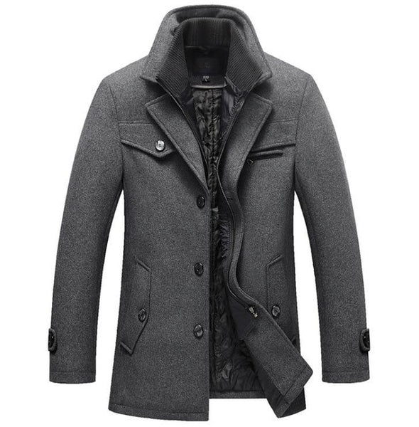Winter Wool Coat Slim Fit Jackets Mens Casual Warm Outerwear Jacket - Outlist