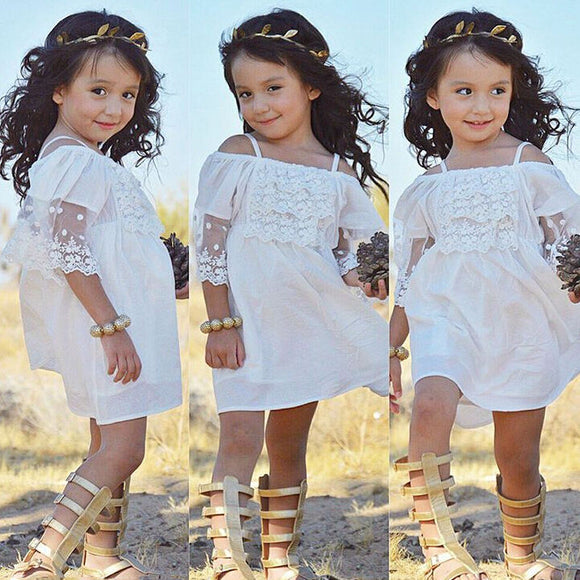 Lace Girl Clothing Princess Dress Kid Baby Party Wedding Pageant Formal Mini Cute White Dresses Clothes Baby Girls - Outlist