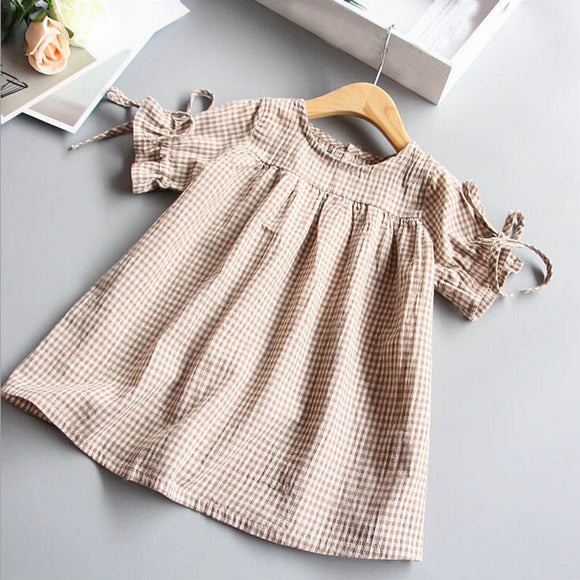Girls dresses Toddler Kids Baby Girl Clothes dress Bowknot Plaid T-shirt Tops Party Princess Dresses drop shipping