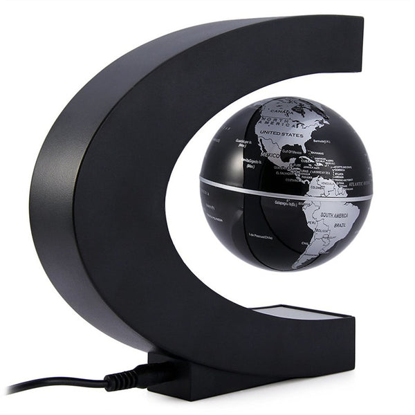 C Shape Magnetic Levitation Floating Globe World Map with LED Lights for Desk Decoration - Outlist