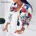 Jacket Retro Floral Printed Long Sleeve Zipper Bomber Jackets Autumn Coat Female Biker Outwear Tops