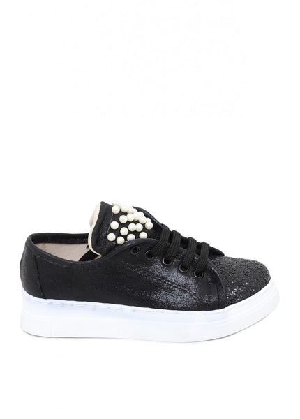 Leather Black Kids Casual Shoes