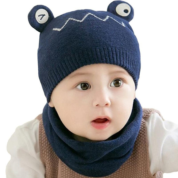 2 Pcs Set Babies Frog Pattern Woolen Knitted Hat And Scarf - Outlist