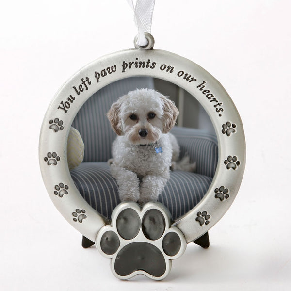 Pet memorial ornament - you left paw prints on our hearts - pet memorial ornament - gift box - Outlist