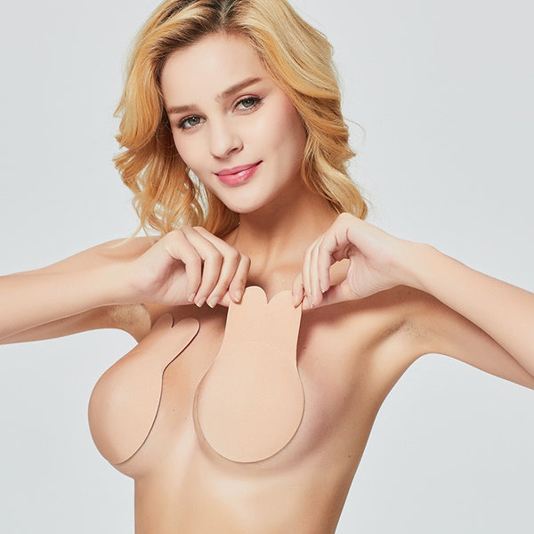 Outlist Adhesive Bra Strapless Sticky Invisible Push up Silicone Bra for Backless Dress with Nipple Covers Nude