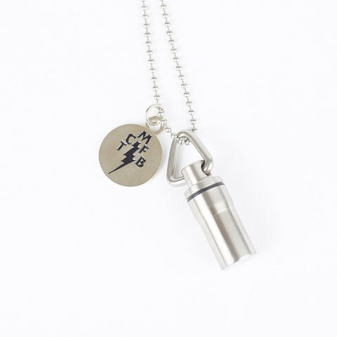 STAINLESS STEEL PILL FOB WITH BALL CHAIN NECKLACE