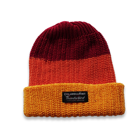 COTTON STRIPE WATCH CAP - Red, Orange & Yellow