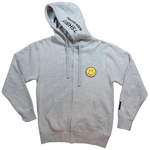 Smiley Patch Zip Hoodie