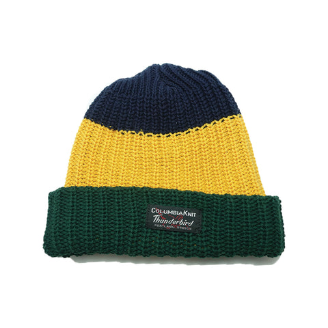COTTON STRIPE WATCH CAP - Gold, navy & green