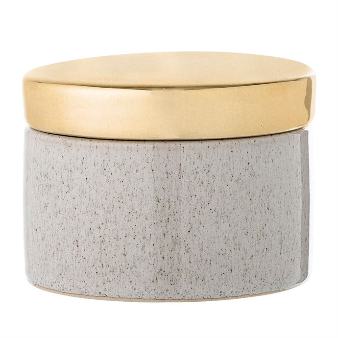 Stoneware Box w/ Gold Finish Lid