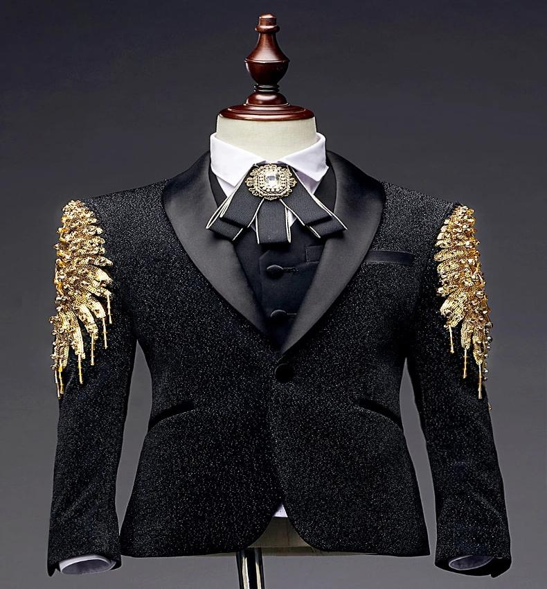 Formal Black Gold Sequins Suit
