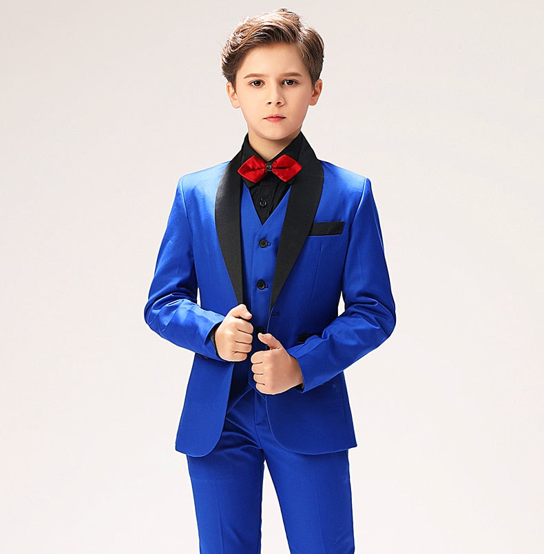 5-Piece Classic Blue Shawl Lapel Suit
