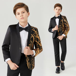 Black and Gold Sequin Blazer