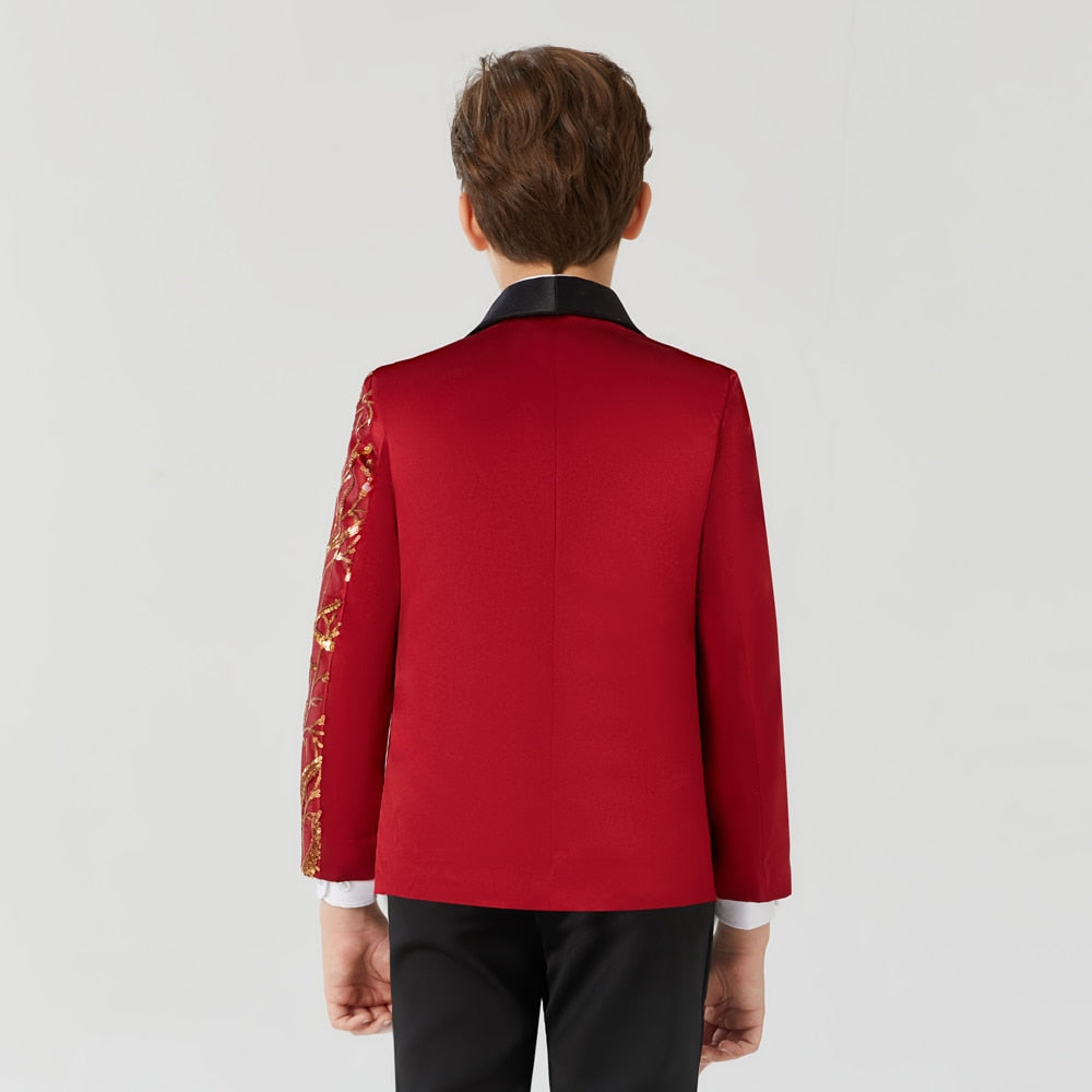 Red and Gold Sequin Blazer