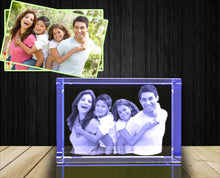 Laden Sie das Bild in den Galerie-Viewer, 3D custom personalized engraved etched crystal  birthday, Valentine's Day, wedding, Graduation, mother's day, father's day, retirement, remembrance, housewarming, Christmas, corporate, memorial or anniversary gift with your own photo