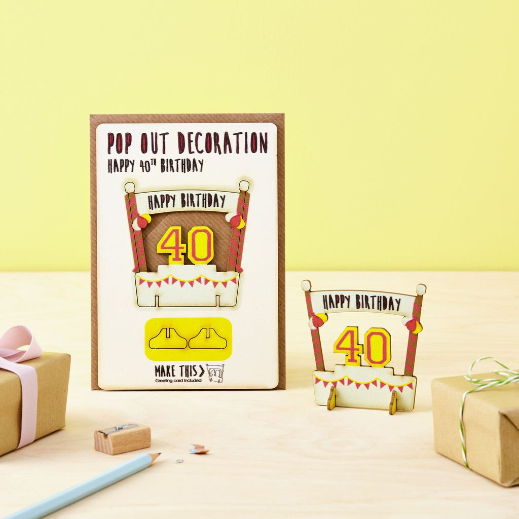 Pop Out 40th Birthday card