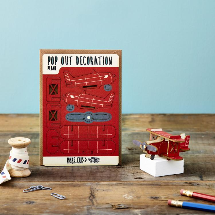 Red Plane Pop Out Card