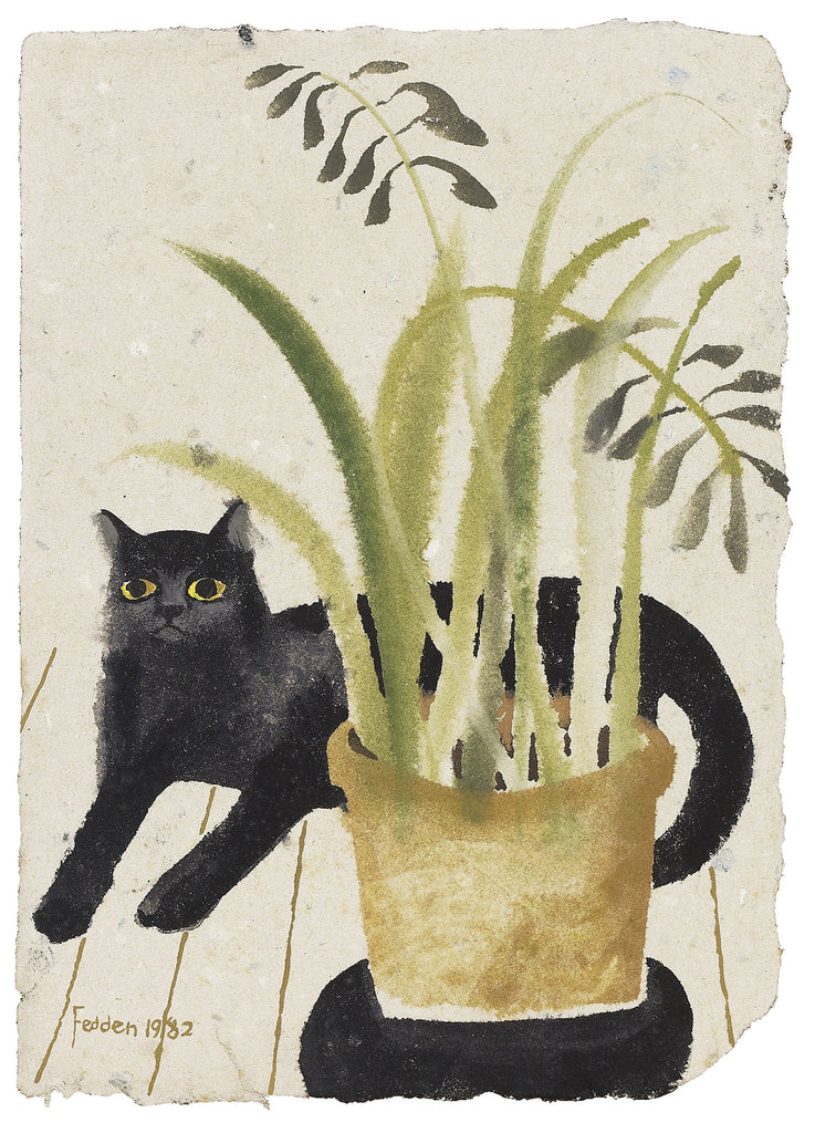 Mary Fedden  -  Black Cat and Plant 1982