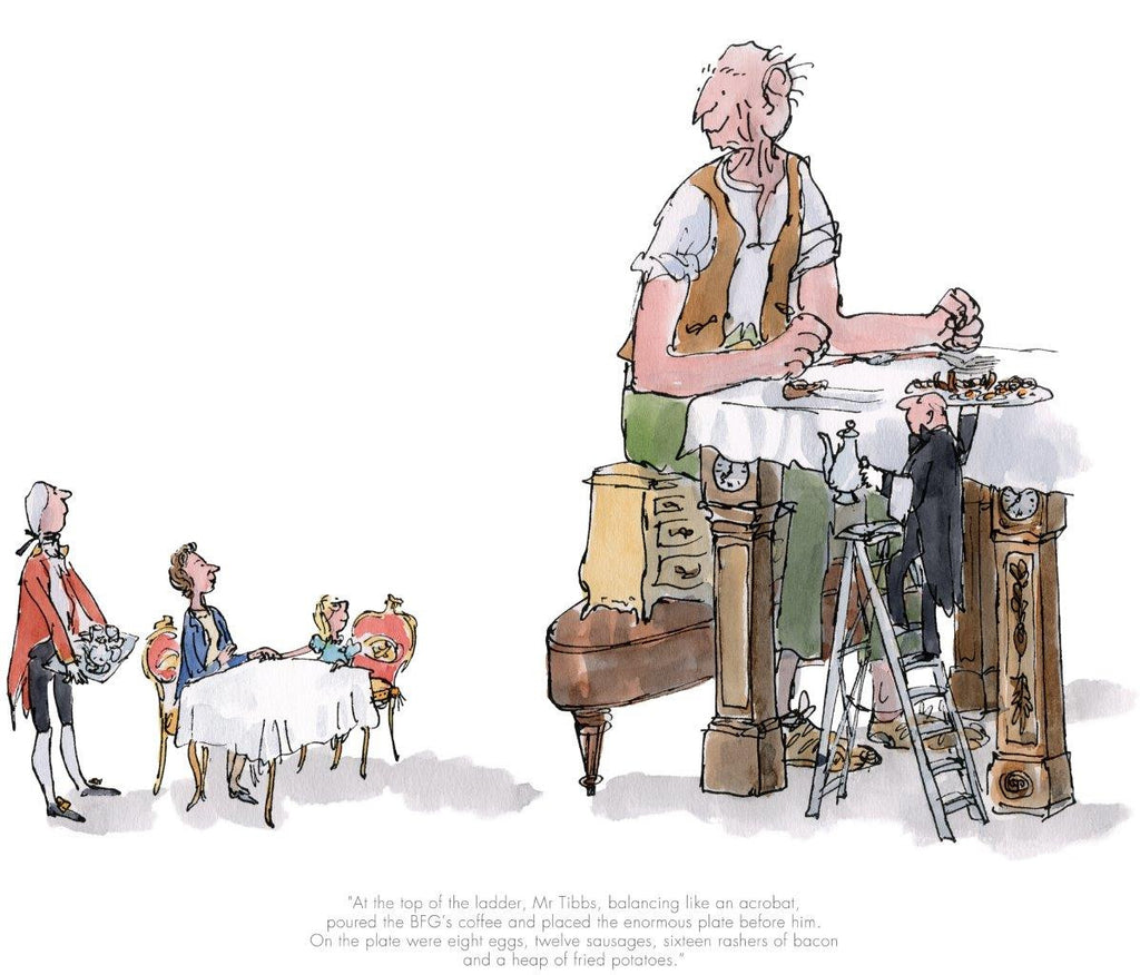 Quentin Blake - The BFG has breakfast with the Queen