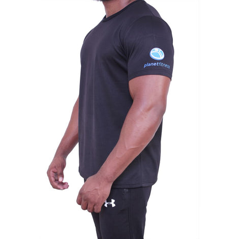 Planet Fitness Mens Athletic Dry Fit Black Tee