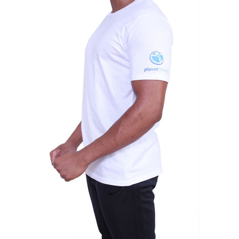Planet Fitness Mens Athletic Fit White Cotton Tee
