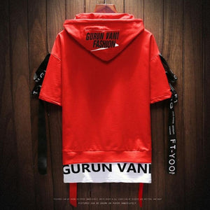 Strapped Faux Two Piece Short Sleeve Hoodie