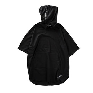Short Sleeve Strapped Hoodie - BLVCKOUT Apparel