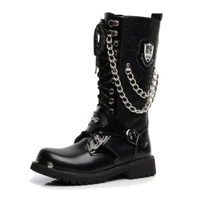Chained Leather Combat Boots - BLVCKOUT Apparel