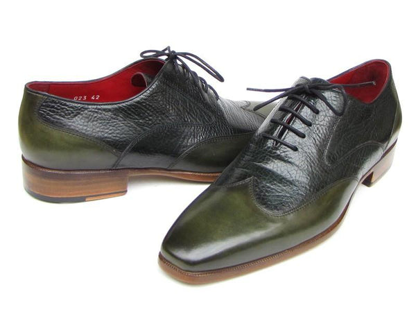 Paul Parkman Men's Wingtip Oxford Floater Leather Green (ID#023-GREEN)