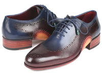 Paul Parkman Opanka Construction Blue & Bordeaux Oxfords (ID#726-BLU-BRD)