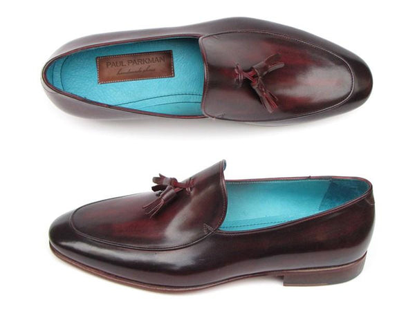 Paul Parkman Men's Tassel Loafer Black & Purple Shoes (ID#049-BLK-PURP)