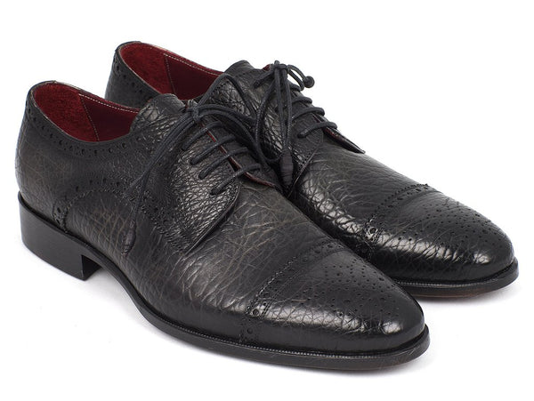Paul Parkman Black Aged Leather Captoe Derby Shoes (ID#FR799-BLK)