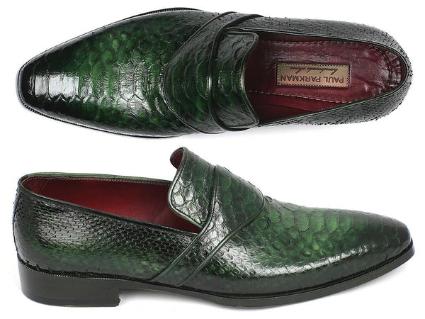 Paul Parkman Genuine Python Loafers Green (ID#11GRN95)