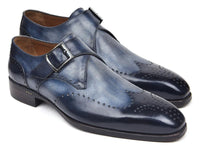 Paul Parkman Wingtip Single Monkstraps Navy (ID#98F54-NVY)