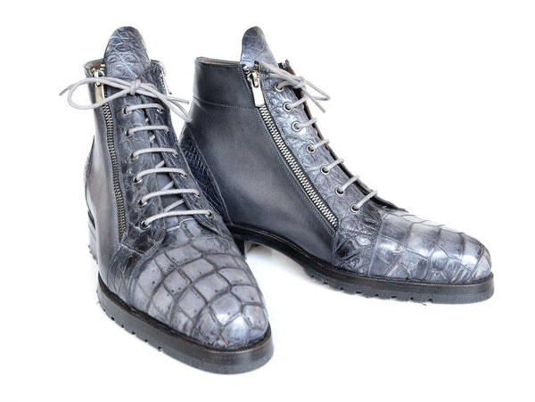Paul Parkman Gray Genuine Crocodile & Calfskin Side Zipper Boots (ID#89GRY72)