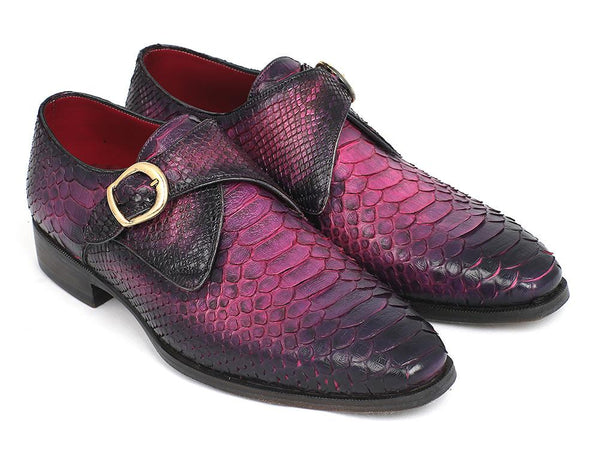 Paul Parkman Purple Genuine Python Single Monkstraps (ID#PT77PURP)
