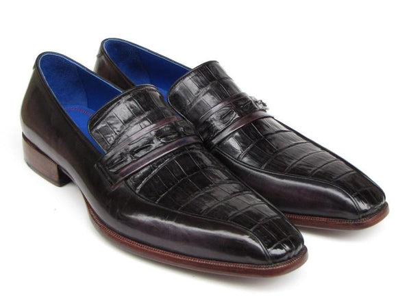 Paul Parkman Men's Black Genuine Crocodile & Purple Calfskin Loafers (ID#084-BLKPURP)