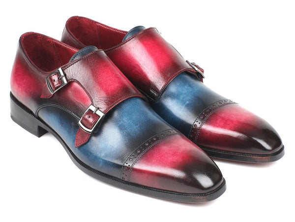 Paul Parkman Captoe Double Monkstraps Blue & Fuxia (ID#045BFX81)