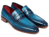 Paul Parkman Men's Penny Loafer Blue & Turquoise Calfskin (ID#10TQ84)